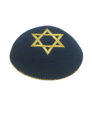 Blue White Star Of David Knitted Yarmulke Kippah 16 cm diameter Jewish Kippa Hat