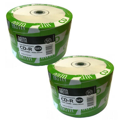 100 Arita Ritek Full Face White Printable Blank CD-R CD 52x Discs 700MB 80min