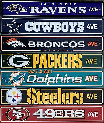 "NFL Football Street Sign Ave. 4"" x 24""  Pick Team"