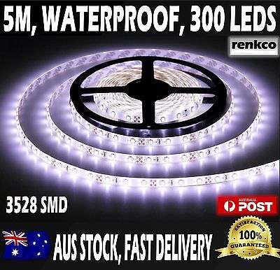 Waterproof Flexible 12V Led Strip Lights 3528 SMD Cool White  300 LEDs 5M Roll