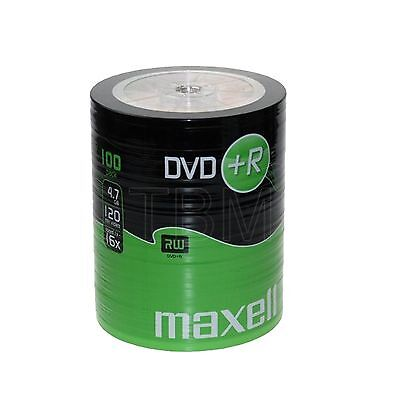 100 Maxell DVD+R 4.7GB (16x) 120Min DVDR In Shrink Wrap DVD+R