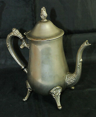 Collectible Dull Silver Color Silver Plated Coffee Tea Pot Kettle Rose Ornate