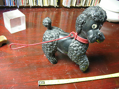 Poodle  Squeak  Toy  Black  With  Red  Leash  Movable  Eyes  Vintage  Italy !