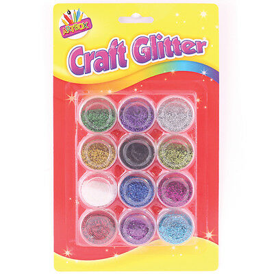 craft glitter powder/dust pots in 12 assorted colours card making/hobby/art 6088