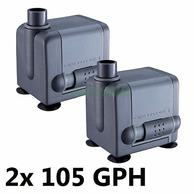 2 pcs 105 GPH Submersible Pump Aquarium Pond Fountain Water Fall Hydroponic UL
