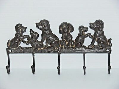 solid cast iron key holder coat hanger  puppies DOG really lovely