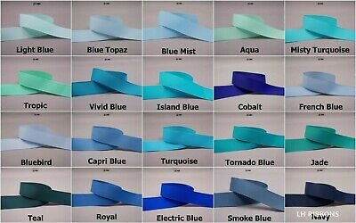 5yds~~25mm Solid Grosgrain Ribbon 15 Colours U Pick -- Blue/Navy/Royal/Turquoise