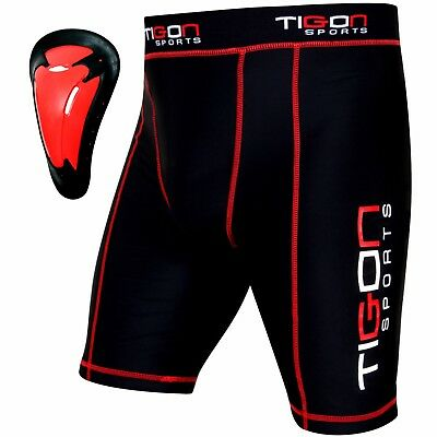 Men Compression Boxer Shorts Base Layer Briefs Fit MMA Tight Gym Pants Guard Cup