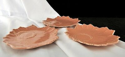 3 Steubenville Woodfield Coral / Salmon / Pink Snack Plates