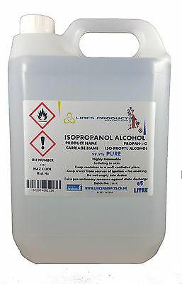 IPA ISOPROPYL ALCOHOL ISOPROPANOL- 5 LITRE min 99.9% pure FREE POSTAGE & PACKING