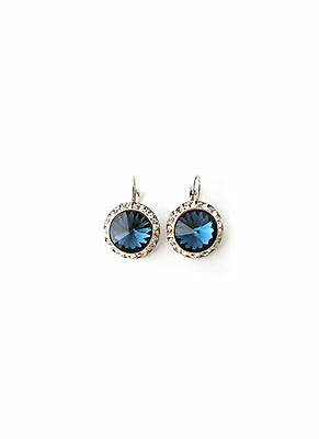 41A Contemporary 20mm Montana Navy Blue Swarovski Elements Leverback Earrings