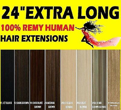 "24"" INCH EXTRA LONG CLIP IN HUMAN HAIR EXTENSIONS Brown Blonde Black"
