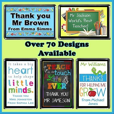 Personalised Teachers Fridge Magnet - Many Designs + Message, Thank you Gift