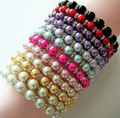 Glass Pearl And Crystal Bracelet In 4 Sizes And 12 Colours Ideal Wedding