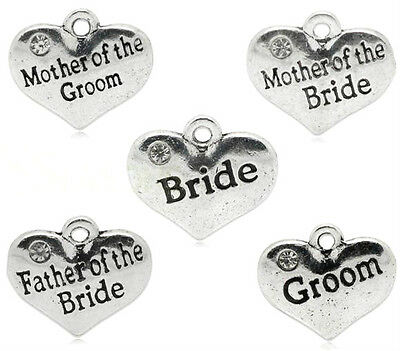 5 x ANTIQUE SILVER ENGRAVED WEDDING & FAMILY HEART CHARMS  CHOICE TITLES
