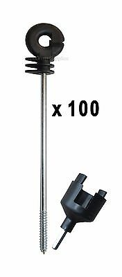 100 x Electric Fence Distance Long Insulators + Drill Tool