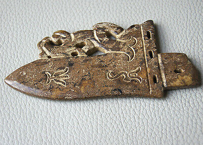 China Ancient Old Jade hand engraving Ancient Weapon Delicate Excellent Weapon