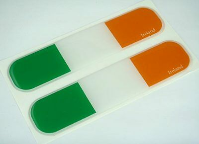 "Ireland, Irish Flag Domed Decal Emblem Car Flexible Sticker 5"" Set of 2"