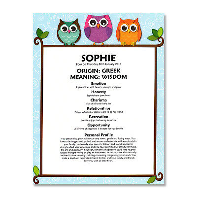 PERSONALISED NAME MEANING PRINT Baby Boy Girl Nursery Christening Birthday Gift