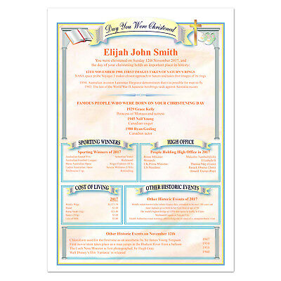 Personalised Christening Baptism Gift - Boy Girl Baby Keepsake Certificate