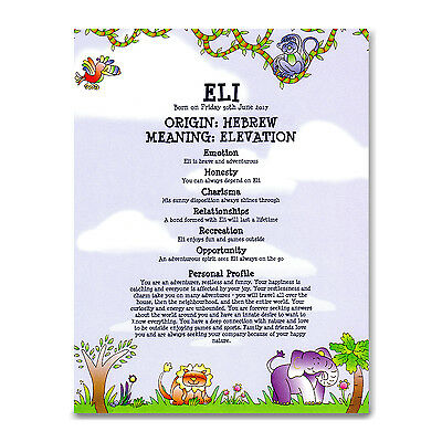 NAME MEANING CERTIFICATE Personalised Gift Christening Naming Day Baby Boy Girl
