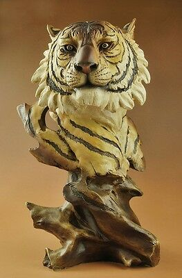 "Large Nice Resin Big Cat Tiger Head Bust Statue Figure 11""High"