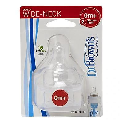 Dr Browns Level 1 Wide Neck Silicone Teats BPA FREE (Twin pack)