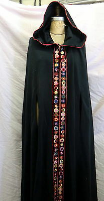HALLOWEEN SALE!!  FULL LENGTH Ladies Black HOODED CAPE /Embroidered trim