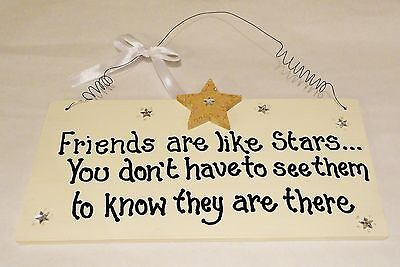 Shabby Chic Wall Plaque Gift Stars Friends Birthday Christmas Friend Star Sign