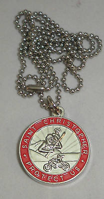 St Christopher Rides a Honda Bikers Saint Medal Necklace