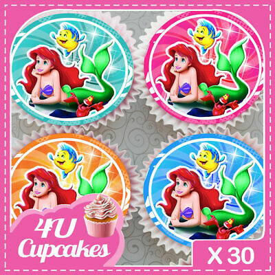30 X Ariel The Little Mermaid Mixed Images Edible Cupcake Cake Toppers 164