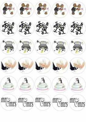 30 X Wedding Mr & Mrs Bride Groom Mixed Images Edible Cupcake Toppers 147