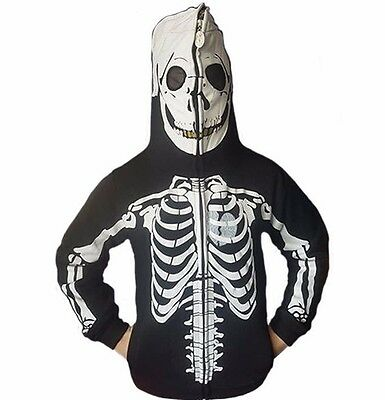 Boys Youth Jumper Hoodie Black/White Zip Over Skeleton Skull Hoody Size 4-16