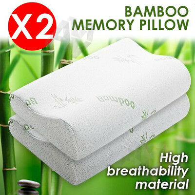 2x Luxury Bamboo Pillow Anti Bacterial Memory Foam Fabric Cover 50 X 30CM
