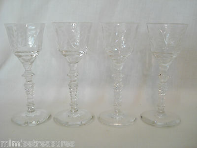 4 Libbey Rock Sharpe 2006-2 Cordial Optic Floral Cut Stems Glass Glasses Shot