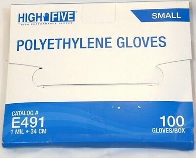 100x High Five E491 Polyethylene FDA Food Gloves Small Size Embossed Disposable
