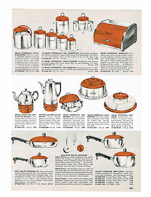 1955 AD HELLER COPPERAMA KROMEX TUMBLER PITCHER SET MELMAC DINNERWARE