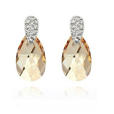 18K White Gold Plated Made With Swarovski Crystal Cute Water Drop Stud Earrings