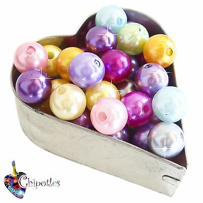 20 PERLE CERATE MISTE 10 mm ACRILICO mixed colours acrylic pearl beads