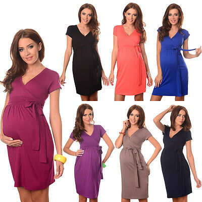 Maternity Cocktail Dress V-Neck Pregnancy Clothing Wear Size 8 10 12 14 5416