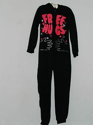 Girls Kids Black 'free Hugs' All In One Sleepsuit Pyjamas 5-12 Years