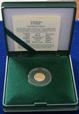 !!!GOLD coin 25 zl. free elections in June 1989 SOLIDARNOSC + COA + BOX