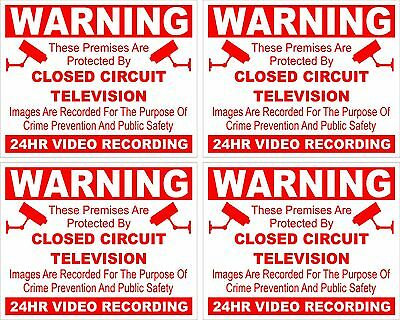 CCTV warning sticker X 4 security safety camera sign sticky back/face 5cmx4cm