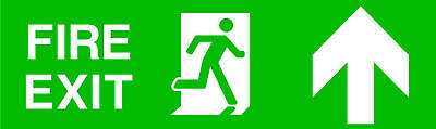 Fire exit up rigid sign 300mm x 100mm safety warning
