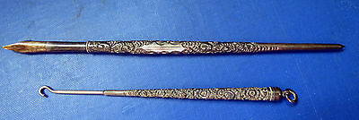 Fine Sterling Silver Dip Pen & Matching Button Hook - H.m.s. Smith & Co New York