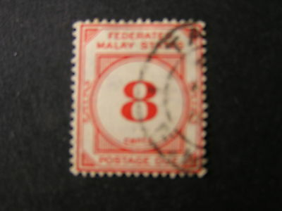 *FEDERATED MALAY STATES, SCOTT # J4, 8c.VALUE RED 1924-26 POSTAGE DUE ISSUE USED