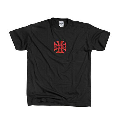 West Coast Choppers Original Iron Cross T-Shirt In Black With Red Maltese Cross