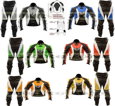Dynamic Colour Range Mens Motorbike / Motorcycle Leather Jacket Trouser Suit