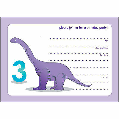 10 Childrens Birthday Party Invitations for 3 year old Fill-in - BPIF-75 - Dino