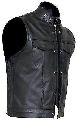Cut off Cowhide Leather Mens Womens Vest Waiscoat ( Gilet Biker Motorcycle)